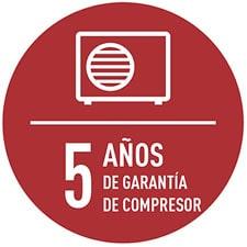 5 Años de garantía en el compresor Panasonic