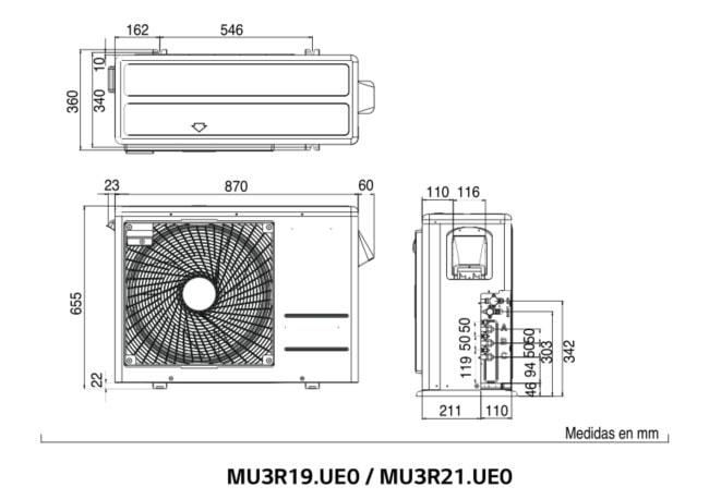 Dimensiones unidad exterior MU2R19.ULO MU2R21.ULO LG