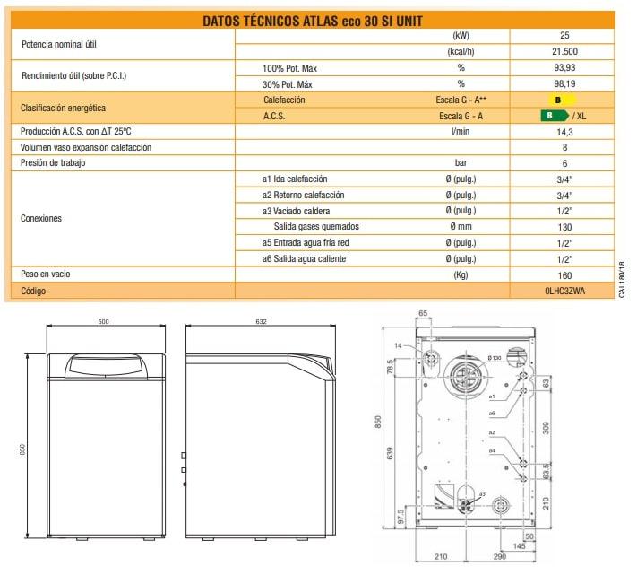 Caldera de Gasoil Ferroli Atlas Eco 30 SI unit de hierro fundido