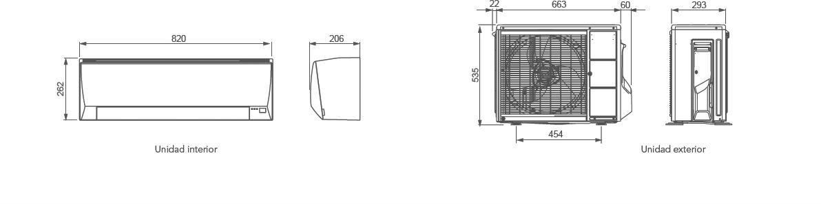 Dimensiones Aire acondicionado Fujitsu ASY35UILLCE