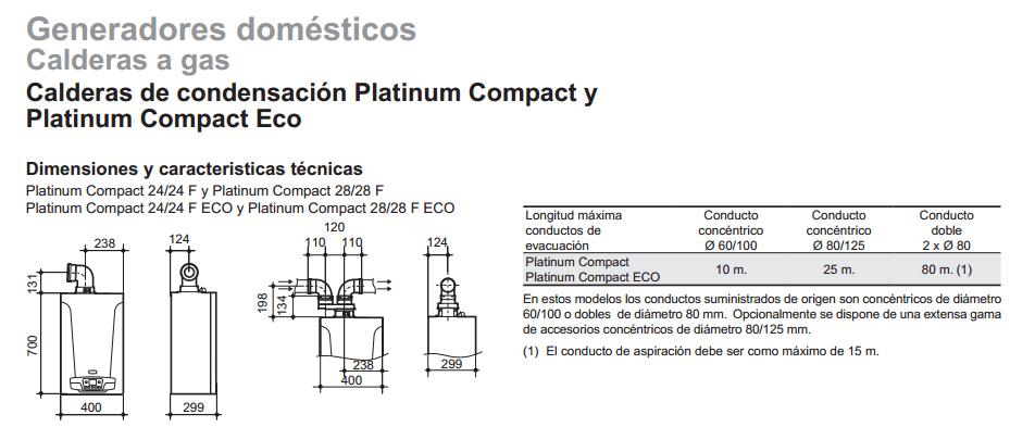 Caldera Platinum compact ECO 26/26 F caracteristicas