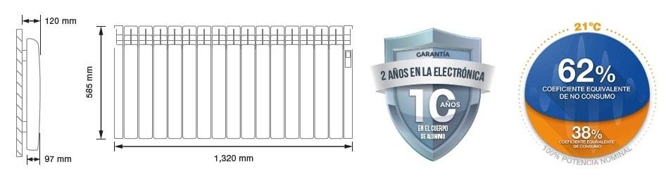 Rointe serie D 1600 W radiador eléctrico